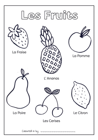 Les Fruits - French Colouring Printable (Download & Print & Post)