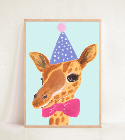Giraffe in Party Hat & Bow Tie