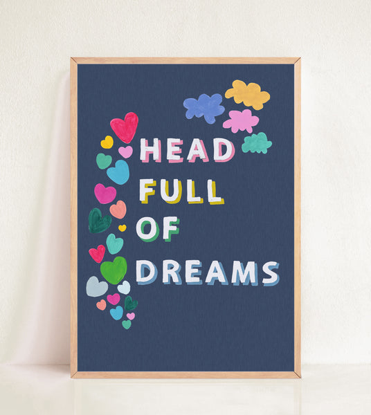 Head Full of Dreams - Deep Blue Linen Effect
