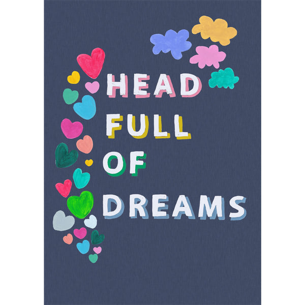 Head Full of Dreams deep blue line effect print