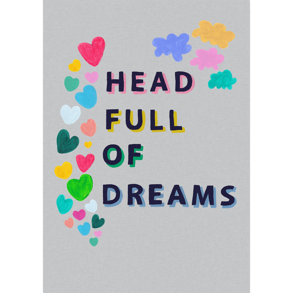 Head Full of Dreams grey line effect print
