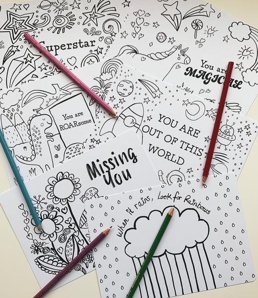 Colouring in postcards double pack