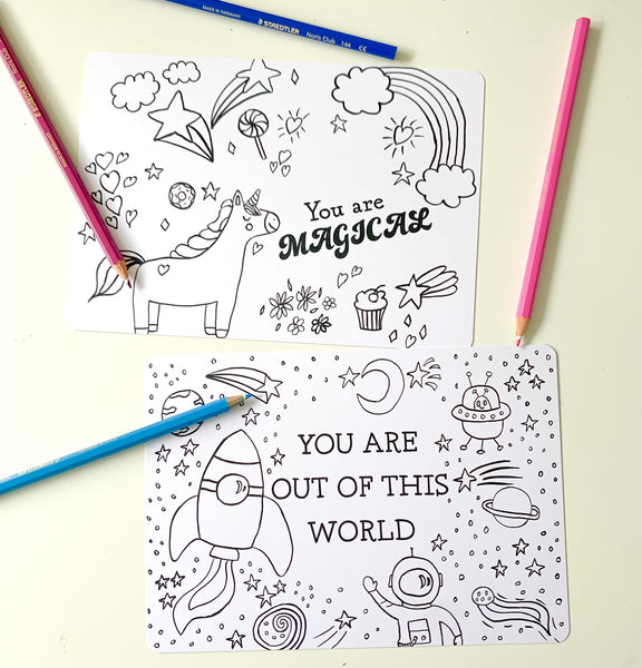 6 Colouring Postcards (Message on front)