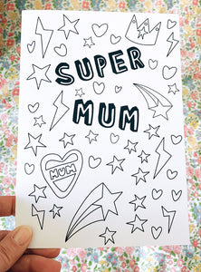 'Super Mum' Mother's Day Colouring Card