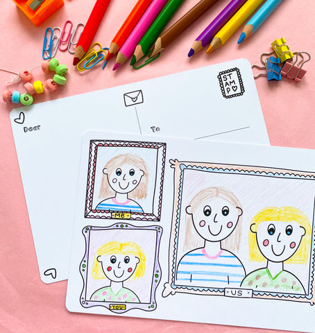 You, Me, Us Colouring Postcards - Pack of 6