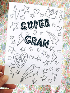 'Super Gran' Mother's Day Colouring Card
