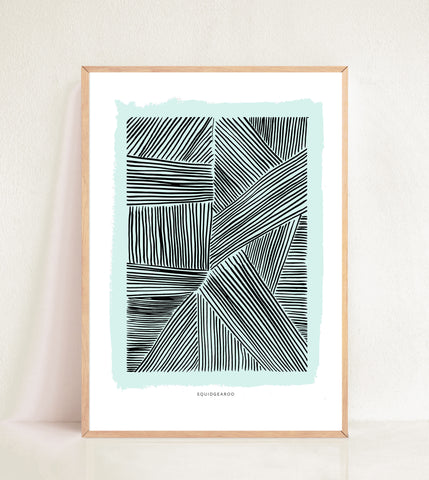 Lots of Lines Modern Print - Green