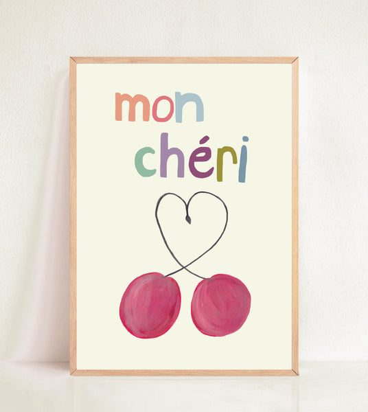Mon Chéri - Multi Coloured Text