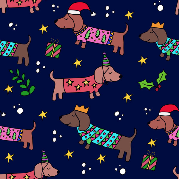 Sausage Dog Christmas Wrapping Paper - Blue (Pack of 5)