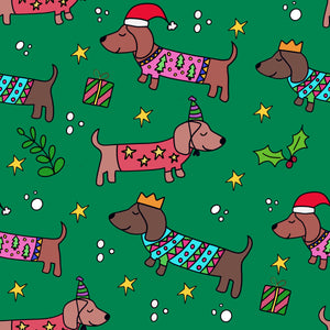 Sausage Dog Christmas Wrapping Paper - Green (Pack of 5)