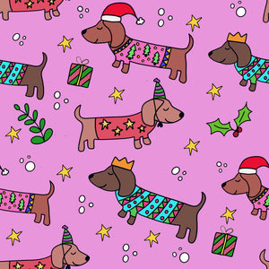 Sausage Dog Christmas Wrapping Paper - Pink (Pack of 5)