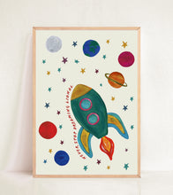 Load image into Gallery viewer, Personalised Glow in the Dark Space Rocket Print in Earthy tones