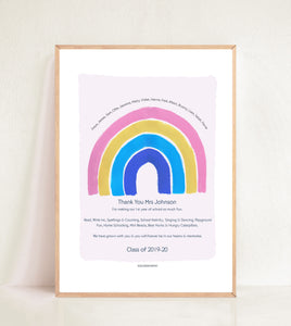 Personalised Rainbow Teacher Print