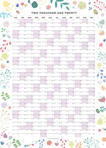 2020 Botanical Wall Planner - Pastels