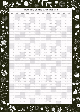 2020 Botanical Wall Planner - Dark Green