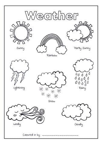 Weather Colouring Printable (Download & Print & Post)