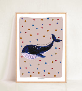 Retro Whale - Muted Pink