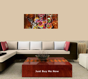 Abstract-32 3 Panels Wood N Canvas Wall Art Paintings