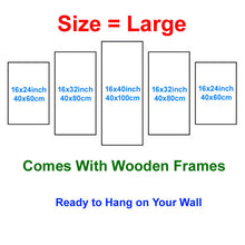 Load image into Gallery viewer, Horses 5 Panels Wood N Canvas Wall Art Paintings