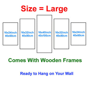 Beautiful scenery 5 Panels Wood N Canvas Wall Art Paintings