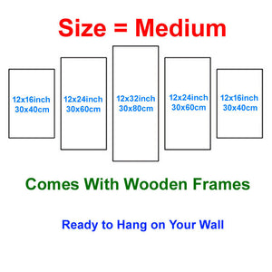 Dragon-2 5 Panels Wood N Canvas Wall Art Paintings