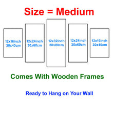 Load image into Gallery viewer, Fire Basketball 5 Panels Wood N Canvas Wall Art Paintings