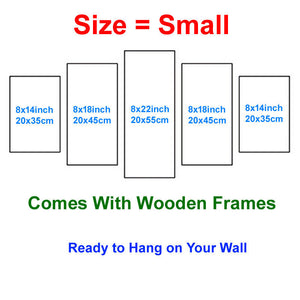 Animal Cat Modular 5 Panels Wood N Canvas Wall Art Paintings