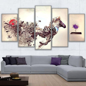 Abstract Zebra 5 Panels Wood N Canvas Wall Art Paintings