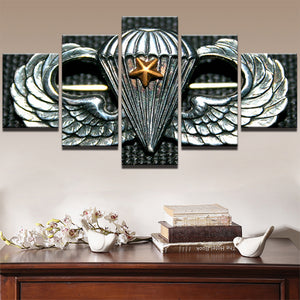 AIRBORNE-DIVISION 5 Panels Wood N Canvas Wall Art Paintings