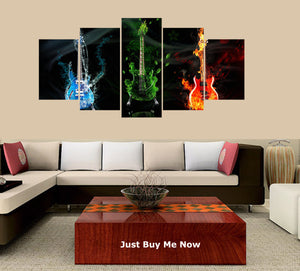 Abstract Guitars 5 Panels Wood N Canvas Wall Art Paintings