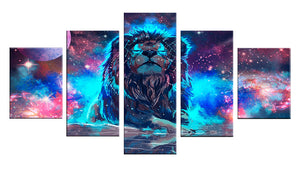 Abstract Nebula Lion 5 Panels Wood N Canvas Wall Art Paintings