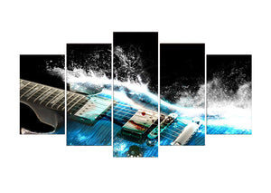 Abstract guitar 5 Panels Wood N Canvas Wall Art Paintings