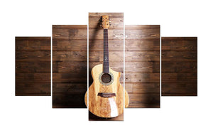 Acoustic Guitar on Wood 5 Panels Wood N Canvas Wall Art Paintings