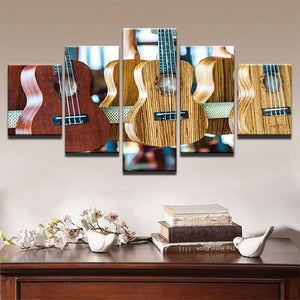 Acoustic Guitars 5 Panels Wood N Canvas Wall Art Paintings