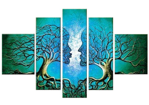 Acrylic Lovers 5 Panels Wood N Canvas Wall Art Paintings