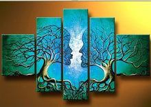 Load image into Gallery viewer, Acrylic Lovers 5 Panels Wood N Canvas Wall Art Paintings