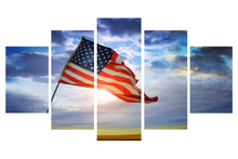 Load image into Gallery viewer, American Flag Flying 5 Panels Wood N Canvas Wall Art Paintings