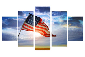 American Flag Flying 5 Panels Wood N Canvas Wall Art Paintings