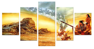 American Native 5 Panels Wood N Canvas Wall Art Paintings