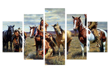 Load image into Gallery viewer, American Native Tribes 5 Panels Wood N Canvas Wall Art Paintings