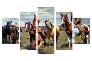 American Native Tribes 5 Panels Wood N Canvas Wall Art Paintings