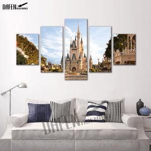 Amusement Park 5 Panels Wood N Canvas Wall Art Paintings