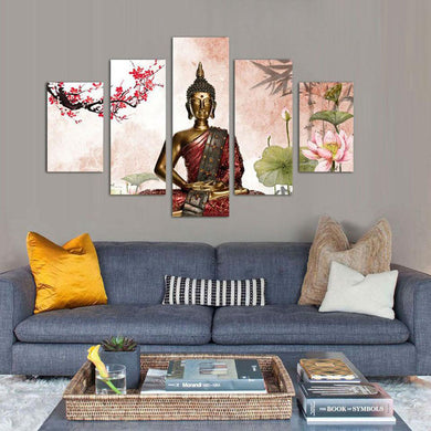Anami Buddha 5 Panels Wood N Canvas Wall Art Paintings