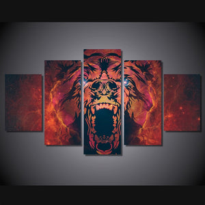 Angry Bear 5 Panels Wood N Canvas Wall Art Paintings