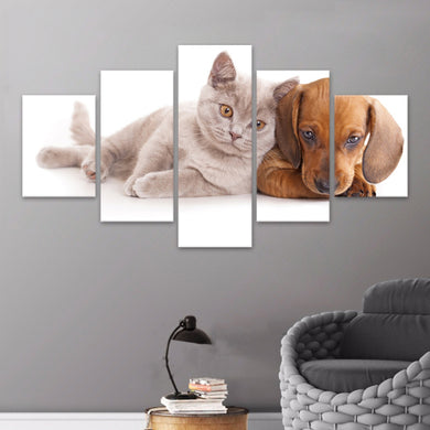 Animal Cat Painting Dog 5 Panels Wood N Canvas Wall Art Paintings