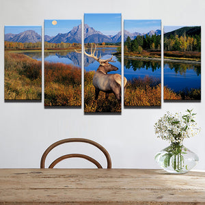 Animal Deer 5 Panels Wood N Canvas Wall Art Paintings