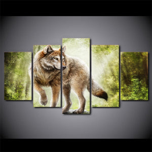 Animal Wolf 5 Panels Wood N Canvas Wall Art Paintings