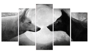 Animal Wolves 5 Panels Wood N Canvas Wall Art Paintings