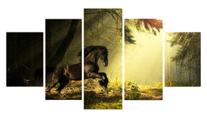 Athletic Horse 5 Panels Wood N Canvas Wall Art Paintings