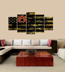 Auburn Tigers logo 5 Panels Wood N Canvas Wall Art Paintings